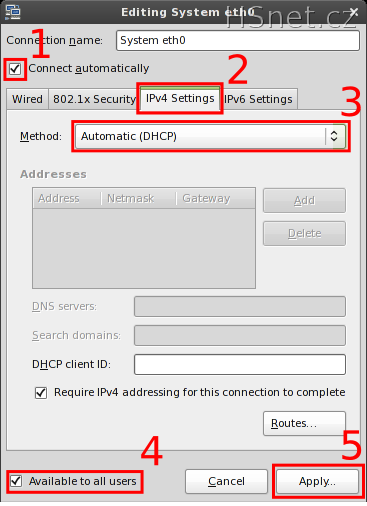Linux - Nastavení síťového připojení