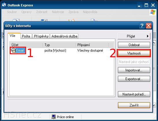 MS Outlook Express - Účty v Internetu